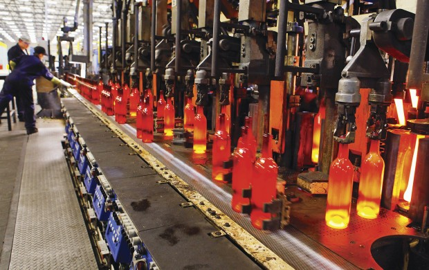 A range of glass bottles in production